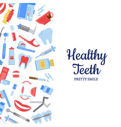 flat style teeth hygiene background vector image