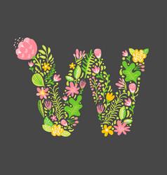 Floral summer letter w flower capital wedding vector