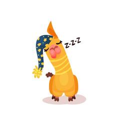 funny llama alpaca cartoon character sleeping vector image