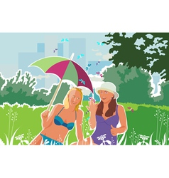 girls with butterflies camping vector image vector image