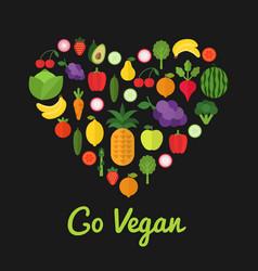Go vegan design healthy food concept heart shape vector
