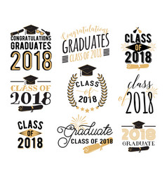 Graduation wishes overlays labels set retro vector