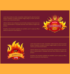 Grill party hot barbeque fest posters set vector