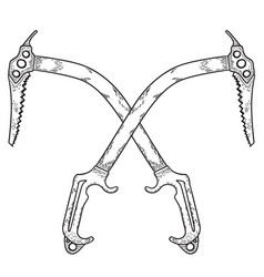 Hand drawn crossed ice axes logo or label vector