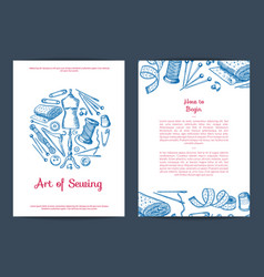 hand drawn sewing elements card flyer or vector image