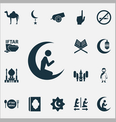 holiday icons set with bomb star mosque and vector image