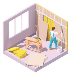 isometric worker plastering wall vector image
