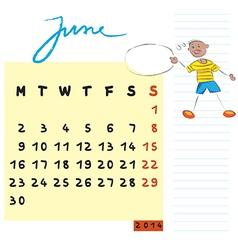 june 2014 kids calendar vector image