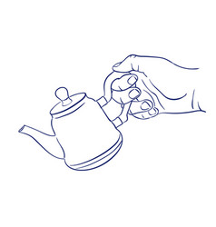keep teapot in hand vector image
