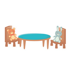 kids toy rabbit furry and bear table chairs toys vector image