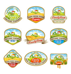 Labels with the image of a lovely farm vector
