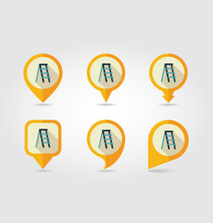 Ladder stepladder stair flat pin map icon vector