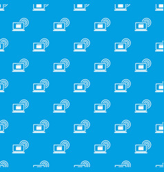laptop and and wireless pattern seamless blue vector image