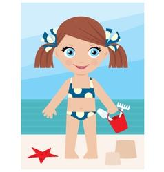 little girl on a coast with a bucket vector image