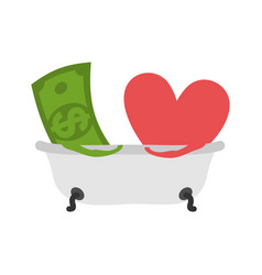 love and money in bath selling love dollar and vector image