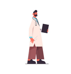male doctor in uniform holding clipboard vector image