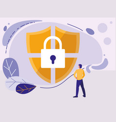 Man using shield security isolated icon vector