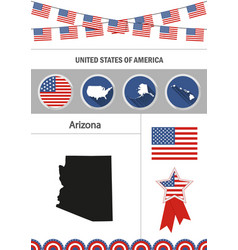 Map of arizona set of flat design icons vector