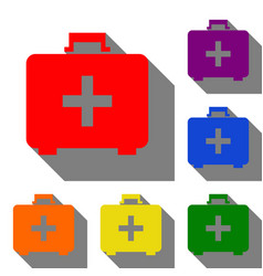 medical first aid box sign set of red orange vector image