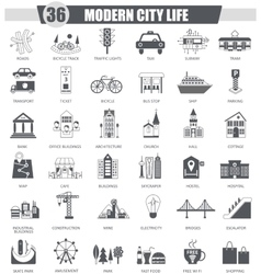 Modern city black icon set Dark grey vector