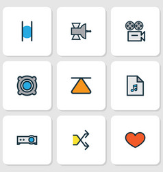 Multimedia icons colored line set with shuffle vector