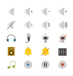 Music and Media Flat Icons color vector image