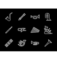 Music white line icons Wind instruments vector image