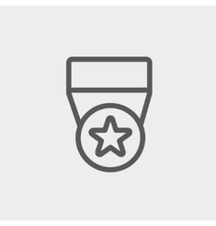 One star medal thin line icon vector