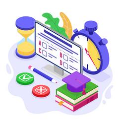online distance education exam test vector image