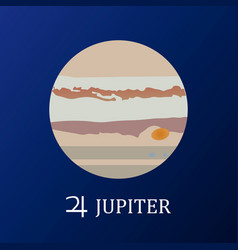 planet jupiter in flat style vector image