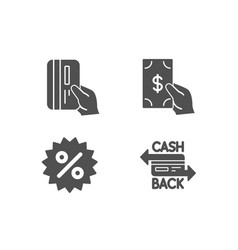 Receive money discount and payment card icons vector
