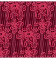 Red seamless flower lace pattern vector