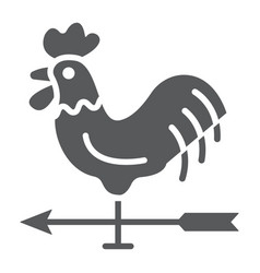Rooster weather vane glyph icon farming vector