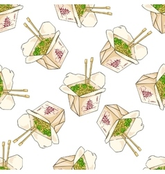 Seamless pattern color chinese noodles box vector