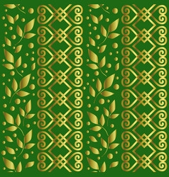 seamless pattern with ornament leaves in golden vector image