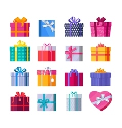 Set of colorful gift boxes with ribbons and bows vector