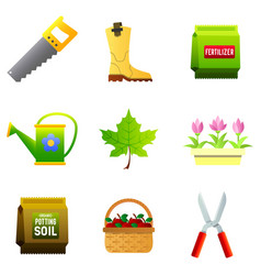 set of nine color icons - saw rubber boots vector image