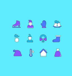 set simple line icons winter vector image