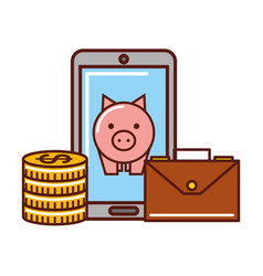 smartphone piggy bank coins and briefcase vector image