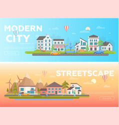 Streetscape - set of modern flat vector