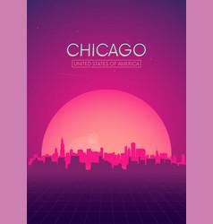 Travel poster futuristic retro skyline chicago vector