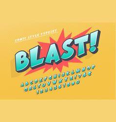 trendy 3d comical font design colorful alphabet vector image