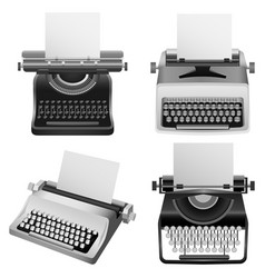 Typewriter machine old mockup set realistic style vector