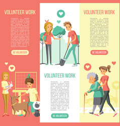 Volunteers work vertical banners set vector