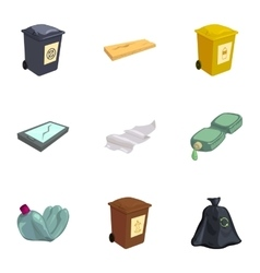 Waste for recycling icons set vector