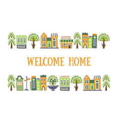 Welcome home banner template with cute hand drawn vector