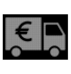 white halftone euro car icon vector image