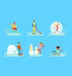 winter activities set people snowboarding vector image