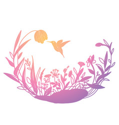 With a hummingbird in flowers vector