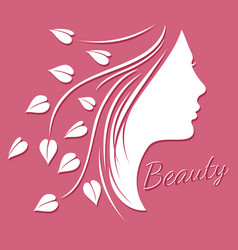 woman face silhouette - beauty logo or emblem with vector image